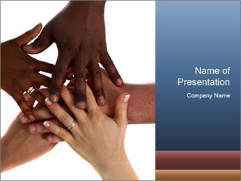 Multiracial hands PowerPoint Template - Slide 1