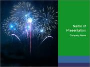 Blue fireworks PowerPoint Template