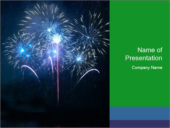 Blue fireworks PowerPoint Template - Slide 1