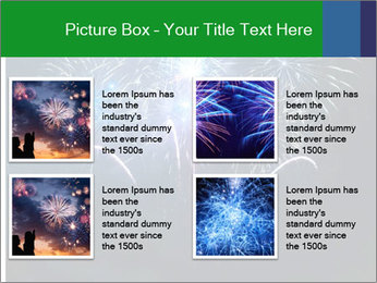 Blue fireworks PowerPoint Template - Slide 14