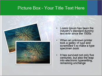 Blue fireworks PowerPoint Template - Slide 20