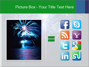 Blue fireworks PowerPoint Template - Slide 21