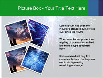 Blue fireworks PowerPoint Template - Slide 23
