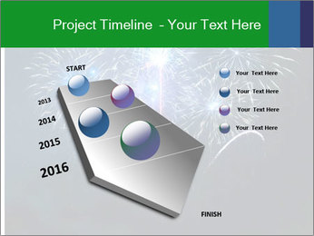 Blue fireworks PowerPoint Template - Slide 26