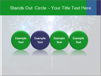 Blue fireworks PowerPoint Template - Slide 76