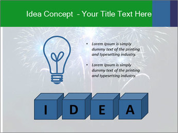Blue fireworks PowerPoint Template - Slide 80