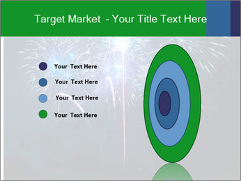 Blue fireworks PowerPoint Template - Slide 84