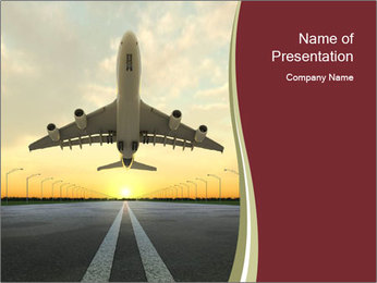 Airplane at takeoff PowerPoint Template