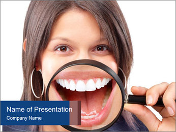 Beautiful young woman teeth PowerPoint Template - Slide 1