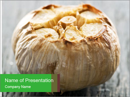 Fresh roasted garlic bulb PowerPoint Templates
