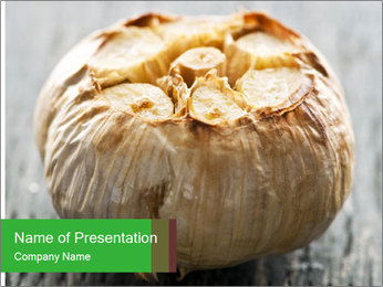Fresh roasted garlic bulb PowerPoint Template