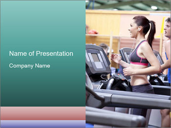 Healthy couple running on a treadmill PowerPoint Template