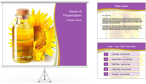 Bottle of sunflower PowerPoint Template