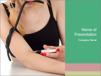 Drug addict young woman PowerPoint Template - Slide 1