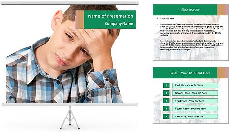 Portrait of a sad boy PowerPoint Template