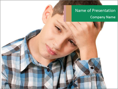 Portrait of a sad boy PowerPoint Template