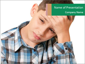 Portrait of a sad boy PowerPoint Template - Slide 1