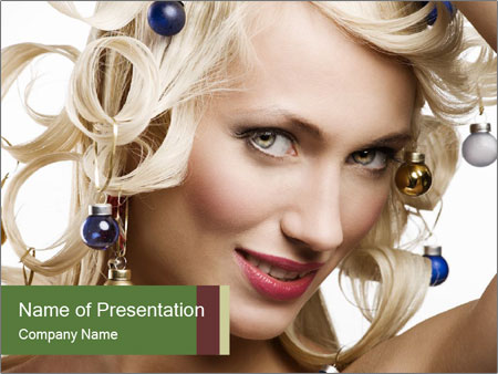 Fashion shot of a blond girl PowerPoint Templates