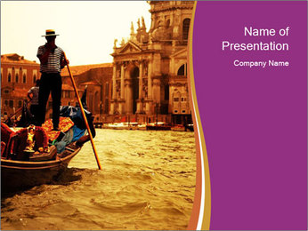 Traditional Venice ride PowerPoint Template - Slide 1