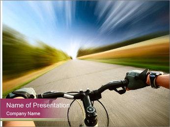 Rider driving bicycle PowerPoint Templates - Slide 1