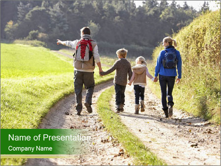 Young family walking PowerPoint Template