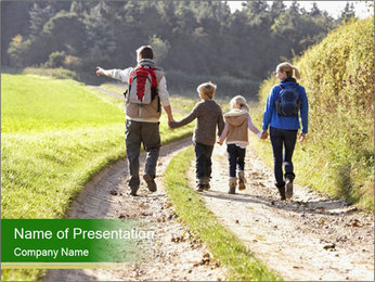 Young family walking PowerPoint Template - Slide 1