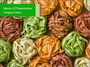 Colorful pasta tagliatelle PowerPoint Templates