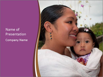 A young mother PowerPoint Template - Slide 1