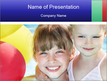 Little girl playing with swimming pool PowerPoint Template