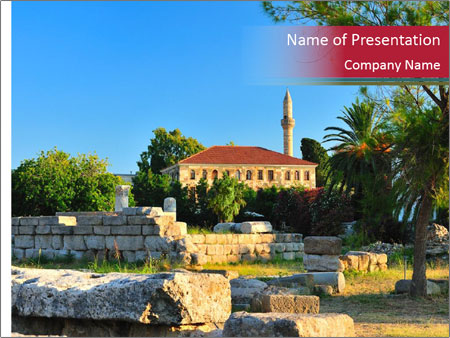 View to agora and the old mosque PowerPoint Templates