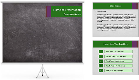 Empty blank black chalkboard PowerPoint Template