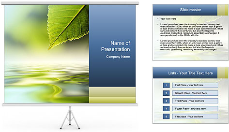 Green leaf reflecting in river water PowerPoint Template