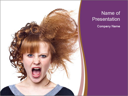Portrait of the indignant young woman PowerPoint Templates