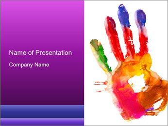 Colored hand PowerPoint Template - Slide 1