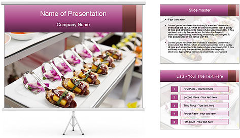 Canapes with cured ham PowerPoint Template