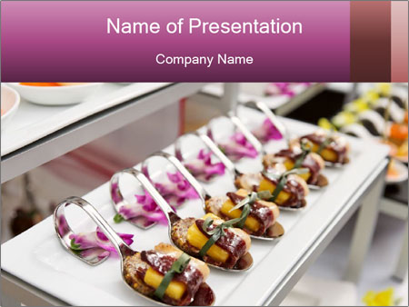 Canapes with cured ham PowerPoint Templates