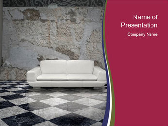 Grunge plaster wall white sofa PowerPoint Templates - Slide 1