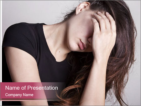 Beautiful sad woman PowerPoint Template