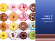 Colorful delicious donuts PowerPoint Template