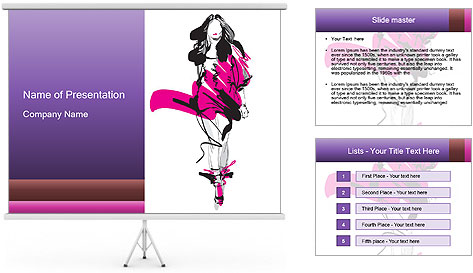 Hand-drawn fashion model PowerPoint Template