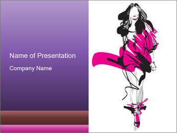 Hand-drawn fashion model PowerPoint Template - Slide 1