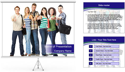 Young smiling students PowerPoint Template