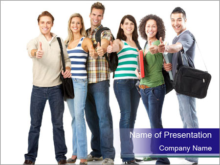 Young smiling students PowerPoint Templates