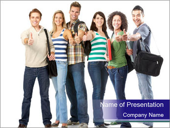 Young smiling students PowerPoint Template - Slide 1