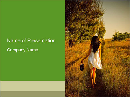 The barefoot girl PowerPoint Templates