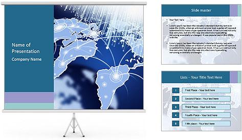 Globe with Fiber Optics PowerPoint Template