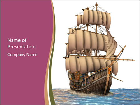Vintage wooden tall ship PowerPoint Template