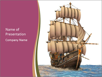 Vintage wooden tall ship PowerPoint Template - Slide 1
