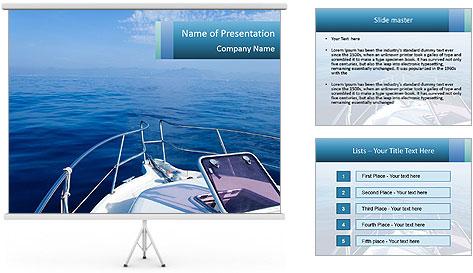Blue sea boat PowerPoint Template