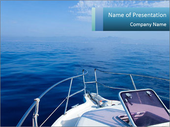 Blue sea boat PowerPoint Template